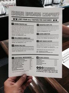 Ohana beer menu