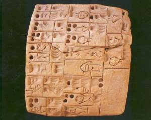 Cuneiform ancient tablet - this piece has a receipt for beer!