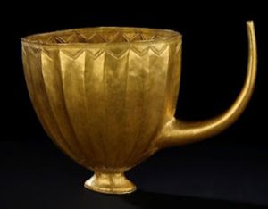 slender spout on a 4,500-year-old golden beer mug from ancient Mesopotamia was designed to filter out unwanted particles, according to researchers.